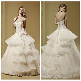 Wholesale Beautiful Ball Gown Wedding Dresses Lace Princess Tiered Organza Bridal Gown Floral Adorned Custom From China Discount