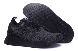 Wholesale 2016 Whole world pairs sale Brand NMD_R1 Primeknit Pitch Black boost ultra boost black running shoes sports training