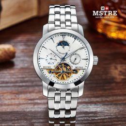 MSTRE Men's Watch Luxury Tourbillon Automatic Mechanical Self-wind Analog Watches Men Skeleton Waterproof Symphony Hardlex Wrist watch
