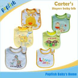 Wholesale 30pcs with single package cartoon baby cotton bib baby bibs layer waterproof saliva towel bib burp cloths baby feedingKM2000
