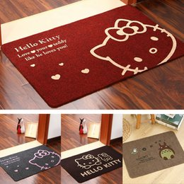 Wholesale 40 cm Bathroom Bedroom Cartoon Non slip Carpet Colors Doormat Living Area Rugs Hello Kitty Printing Brushed Carpets Mats