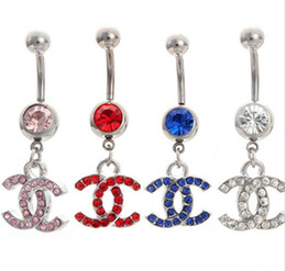 Wholesale Body Jewelry Belly Button Rings Dangle L Stainless Steel Silver With rhinestones Navel Body Piercing Jewelry Belly Navel Rings