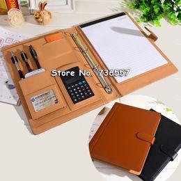 Descuento a4 aglutinantes de anillos carpeta de cuero al por mayor de la PU-carpeta cuaderno planificador de archivo de carpetas de anillas A4 multifunción organizador Padfolio con equipos de oficina calculadora