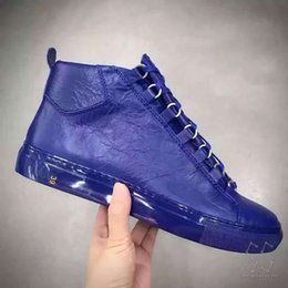 Wholesale Mens plus size super quality sheepskin leather brand arena shoes fashion kanye west high sneakers