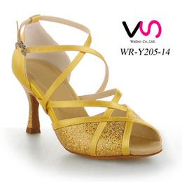 2017 la conception de chaussures de couleur Jaune Couleur Or Design Nice Sandal WR-Y205-14 femmes Suede Pig Salsa Skin Danse Shoe Tango Dance With 8cm Hauteur du talon chaussure confortable budget la conception de chaussures de couleur