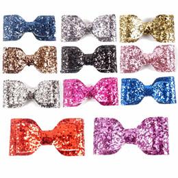 Wholesale 33 quot New Fashion Handmade Boutique Mini Glitter Hair Bow For Kids Hairclip Hair Accessories Headwear