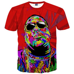 Wholesale America Fashion Brand Clothing Men s T shirt d Print Rapper Christopher Wallace Hip Hop d T shirt Summer Tops Tees