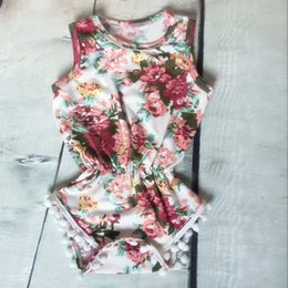Wholesale baby clothes Baby girls Floral Bubble Romper petti romper baby birthday outfit Pom Baby Toddler Romper pc