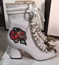 vogue~TOP QUALITY~FASHIONVILLE* u616 34 40 genuine leather flower pearl metal bow lace up thick heel boots black navy white