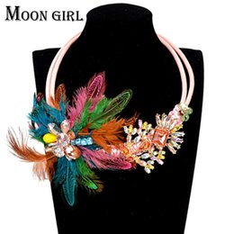 Feather flower statement necklace classic autumn fashion Bohemia jewelry display Rope Chain Crystal Choker necklace for women