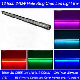 240w 42 pouces droit halo barre lumineuse anneau avec télécommande combo faisceau 3W CREE conduit 24000LM imperméable à partir de 42 barres lumineuses dirigées fabricateur