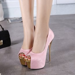 Promotion taille 34 talon rose 16cm super hauts talons roses pompes blanches mode mariage robe de bal des femmes chaussures habillées taille 34 à 39