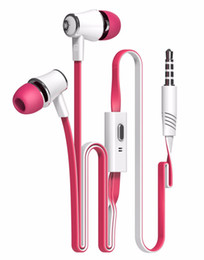 Descuento bajo plano Langston JM21 Super Bass In-Ear Earphone 3.5mm Jack Stereo Headphone 1.2m Flat Cable con micrófono para iPhone 6/6 Plus 5 5S