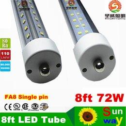 Wholesale 8 ft led single pin fa8 tube W V Shaped and Dural row Double Sides Cree2835 Led Light Tubes ft led AC85 V UL DLC
