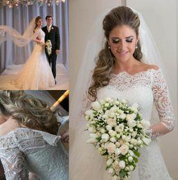 Wholesale Vestido De Novia Off the Shoulder Vintage Lace Long Sleeve Wedding Dresses A Line Arabic Elegant Bridal Gowns Robe Custom CPS297
