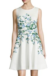 Fashion Flower Print Women A-Line Dress Sleeveless Casual Dresses 075A87