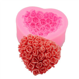 Silicone 3D Love Roses Heart-shaped Fondant Cake Chocolate Mold Mould Suger DIY Decorating Baking Kitchen Tools