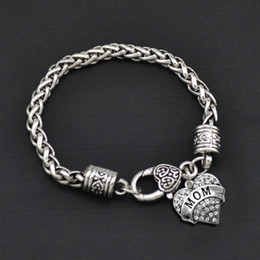 Vintage 20cm Mixed Heart Pendant MOM Charm Bracelets For Mother's Day 10pcs FB017