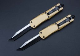Wholesale MICROTECH Technology A07 Troodon single front head T Gold Edition tactical survival knife is the best tool for camping