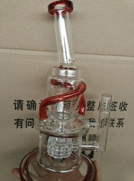 Wholesale red accent Wake Bake New Bongs Glass oil rigs incycler water pipes with matrix stereo perc with female joint