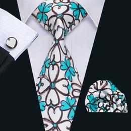 New Style Mens Printed Ties Blue Black Flower Pattern White Business Wedding Silk Tie Set Include Tie Cufflinks Hankerchief N-1250
