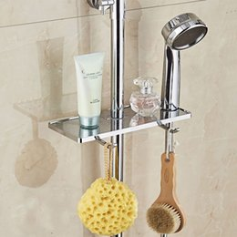Wholesale ABS shower soap box without removing the shower rod holder pallet rod sliding easy to install holder soap pallet rod bathroom shelf