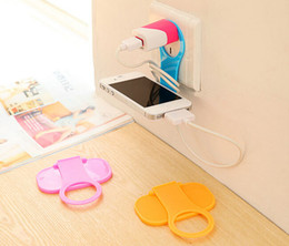 Wholesale Foldable Wall Charger Adapter Charging Holder Hanger Stand for Hanging Cell Phone Cellphone Mobile MP4