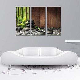 3 Picture Combination Wall Art Bamboo Grove And Black Zen Stones On The Old Wooden Background On Canvas Botanical At Home Decor