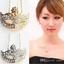 Wholesale -Details about Fashion Fox Mask Flower Full Rhinestone Crystal Opera Masquerade Mask Necklace#H682