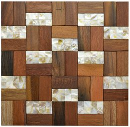 Wholesale Tan Seawood mosaic tile wall mounted mesh tile TV Background wall tiles solid wood home building
