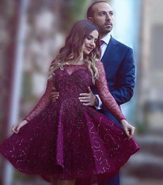 Gorgeous Dark Red Short Prom Dresses 2016 Illusion Long Sleeve Beaded Evening Gowns Custom Made Formal Party Homecoming Dresses