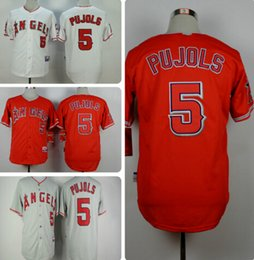 Wholesale ALBERT PUJOLS CHEAP LOS ANGELES ANGELS OF ANAHEIM WHITE HOME GRAY ROAD RED STITCHED MENS BASEBALL PLAYER JERSEY