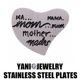 Stainless Steel Window Plate Charm Curved Heart Love Stamped Mom Mother For Heart Living Memory Glass Locket