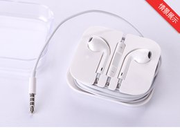 Wholesale White Headset Ear buds iPhone s s Earphone Top quality Headphone ipad5 Air mm Stereo Handsfree with Remote Mic Earphones with box