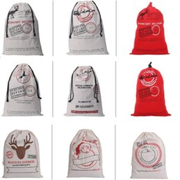 Wholesale New style DHL Free Large Canvas Monogrammable Santa Claus Drawstring Bags With Reindeers Monogramable Christmas Gifts Sack Bags