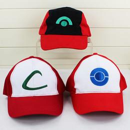 Wholesale Poke pikachu ASH KETCHUM COSTUME Cosplay Hat Visor Cap style free size can choose