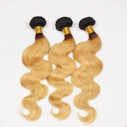 8A Brazilian Ombre Hair Bundles Dark Roots Honey Blonde Brazilian Hair Extensions Ombre Black #27 Blonde Color Body Wave