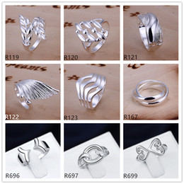 Plated sterling silver ring 10 pieces a lot mixed style EMR4,brand new burst models fashion 925 silver plate ring