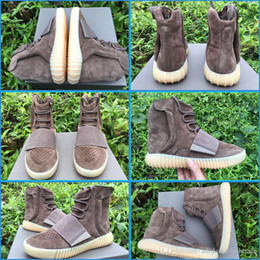 Wholesale free shiping Boost Kanye West Leather Ankle Boots Mid Cut Releasing with Glow Soles B81841 Brown BB1841 men shoes