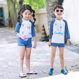 Wholesale Swimwear Girl Sunscreen - Boys girls swimming trunks children swimsuit girl baby sunscreen long sleeved bathing swimwear suit