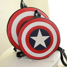 Wholesale Hot sale Deisgn Women Men Fashion Backpack Round PU Leather Travel Bag Captain America Rucksack Bag Z M673