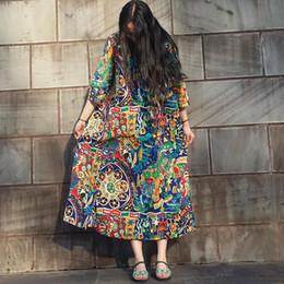 Autumn Dress Cotton Linen Plus Size Women Dress Floral Print Loose Waist Three Quarter Sleeve Long Dress O Neck Long Robe