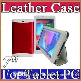"cheapest colorful 7"" flip leather case for 7 inch 3G MTK6572 phone tablet pc E-PT"