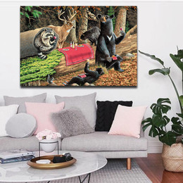 Wholesale 1 Picture Combination Bears Play In Forest Broken Tree Wall Art Painting On Canvas Animal Pictures For Home Decoration