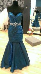 Wholesale Satin Fabric Mermaid Prom Dress - Ocean Long Mermaid Prom Dresses With Sweetheart Pleats Beaded Waistline Party Satin Fabrics Evening Gowns Custom made