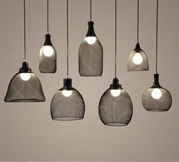 Wholesale Hot sell loft Indoor decorative modern pendant lamp E27 Iron net lamp dining room bar counter coffee house decorate commercial lighting