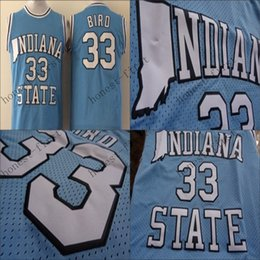 Wholesale Larry Bird College Jersey NCAA Indiana State Sycamores Jerseys Blue