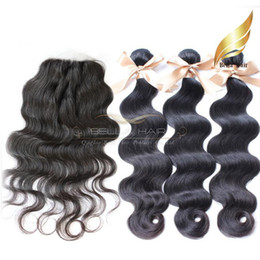 Full Head 4PCS Peruvian Hair Wefts 3PCS Hair Weaves With Top Closure 4X4 Natural Color Body Wave Hair Extensions Bellahair 8A