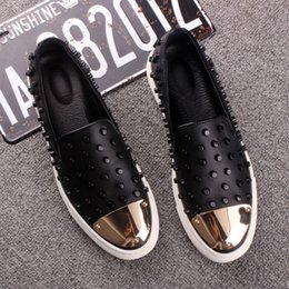 US SIZE Fashion Men Rivet Metal Genuine Leather Slip On Punk Casual Loafer Shoes Driving Car Shoes