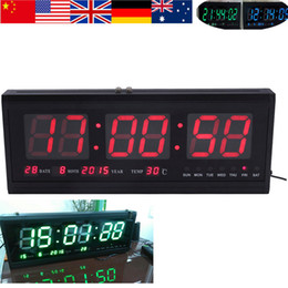 Reloj de pared LED LED de gran tamaño del reloj de pared digital calendario de la alarma escritorio de la tabla del reloj de pared 48cm caliente azul / rojo / verde desde grandes relojes de pared azul proveedores